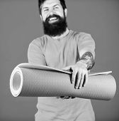 Practicing Yoga Every Day. Man Bearded Athlete Hold Fitness Mat. Fitness And Stretching. Having Good poster