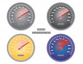 stock photo of mph  - set of mph and kph speedometers vector illustration - JPG