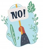 Vector Cartoon Illustration Of No Answer Choice, Man Hand Holding Placard With No Sign, Person Say N poster