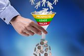 Close-up Of Businessman Holding Funnel Converting Prospects Into Money poster