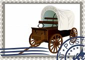 picture of covered wagon  - The illustration on a postage stamp - JPG