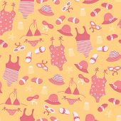 Vector Summer Fashion Seamless Pattern With Girl Beach Accessories. Cute Travel Background With Sung poster
