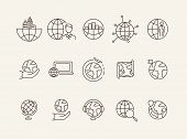 Geography Line Icon Set. Businessman, Globe, Map, Location Pointer. Travel Concept. Can Be Used For  poster