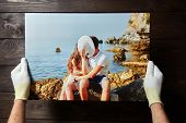 Photography Printed On Canvas With Gallery Wrap Method Of Canvas Stretching. Photo Of Kissing Couple poster