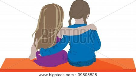 Young Girls on a bench illustration