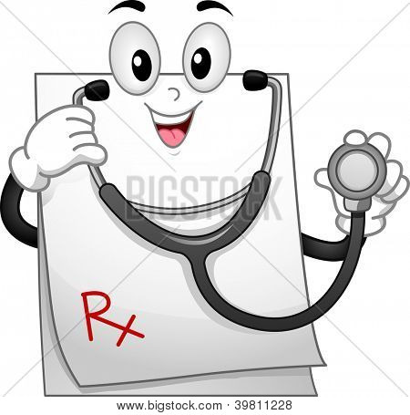 Mascot Illustration of a Prescription Pad Wearing a Stethoscope