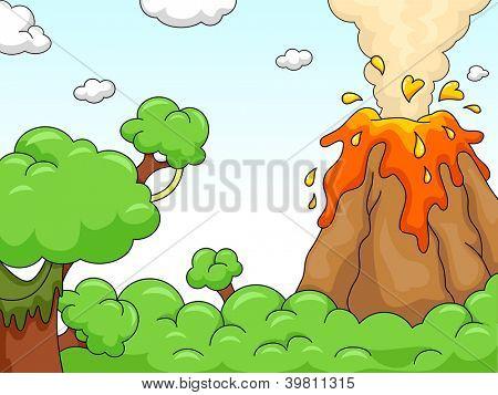 Illustration of a Volcano Eruption Scene