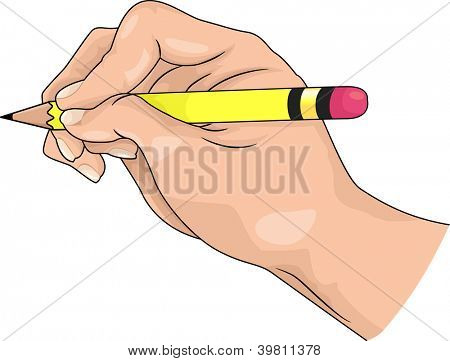 Illustration of hand holding a pencil for writing or drawing