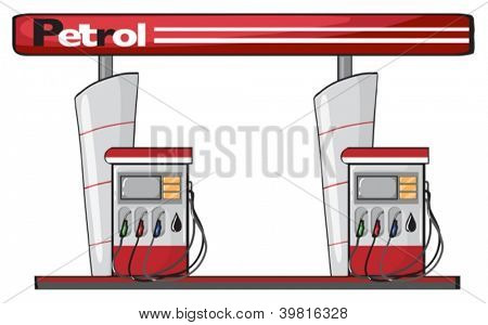 illustration of a petrol station on a white background