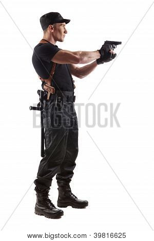 Aiming Police Officer With Gun