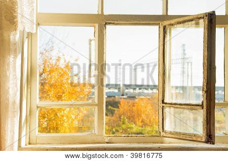 Open Window In Autumn Village