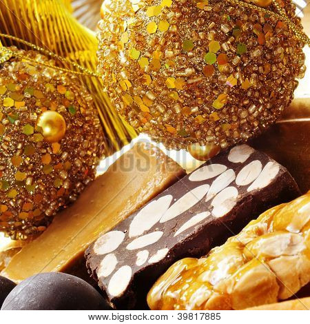closeup of a pile of different turron, typical spanish christmas sweet