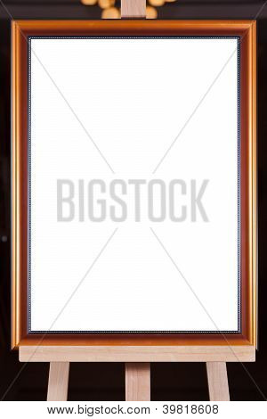 Brown Wood Picture Frame On Easel