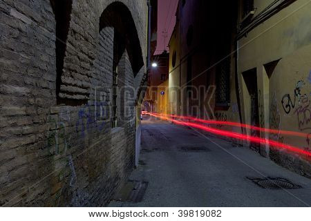 Narrow Medieval Street In Bologna
