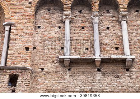 Brick Wall Of Theodoric Palace In Ravenna