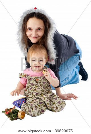 mother with daughter with christmas accessories