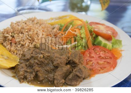 Beef Stew With Rice Salad Bequia St. Vincent And The Grenadines