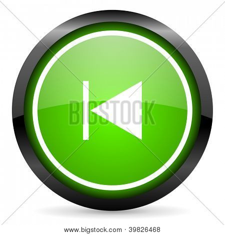 prev green glossy icon on white background