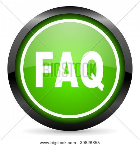 faq green glossy icon on white background