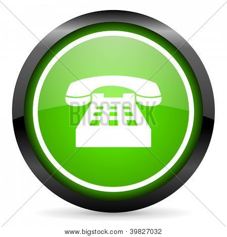 phone green glossy icon on white background