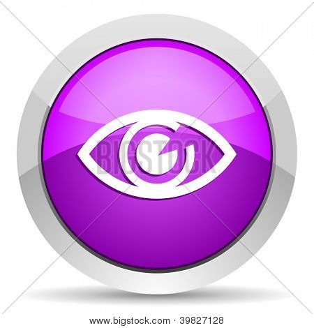eye violet glossy icon on white background