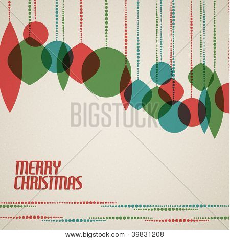 Retro Christmas card with christmas decorations - teal, green and red