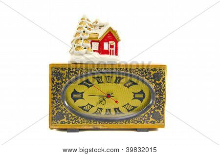 Ancient Clock And Vintage Christmas House