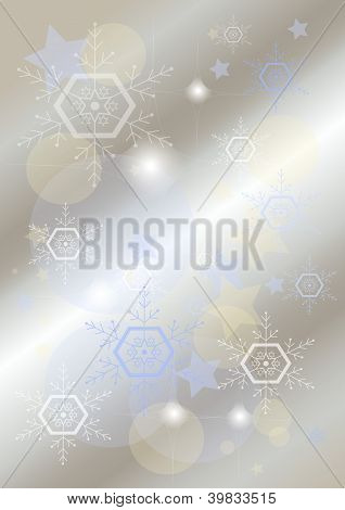 Elegant light background with snowflakes and stars