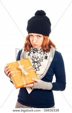 Unhappy Woman With Gift Box