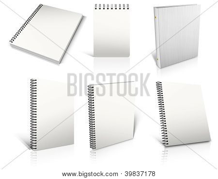 Six White Spiral Blank Notepad On White.
