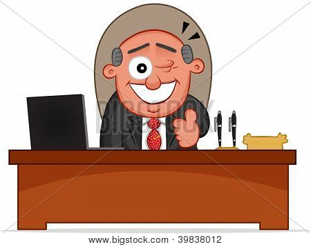 Business Cartoon - Boss Man Winking