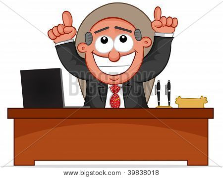 Business Cartoon - Boss Man Happy and Thanking God