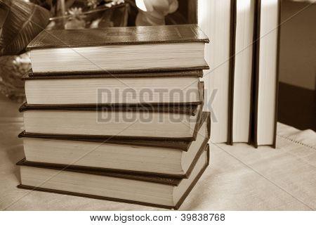 Vintage Old Books On Tabletop