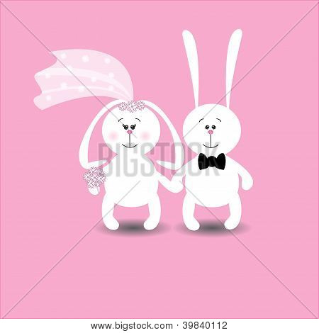 Rabbits Wedding Card