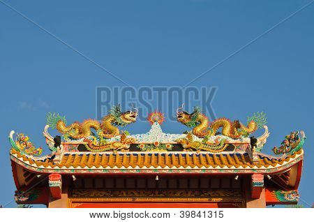 Chinese Style Temple's Roof With Dragons.