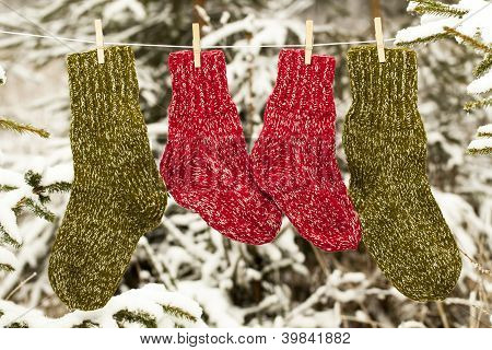 Two pairs of woolen socks hanging on rope in forest
