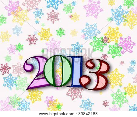 Happy New Year 2013 Background With Colorful Snowflakes