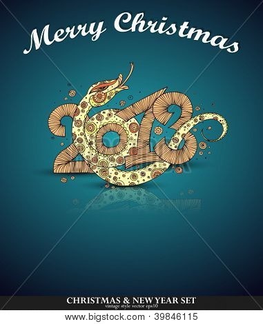 2013 Year of the snake. Christmas card
