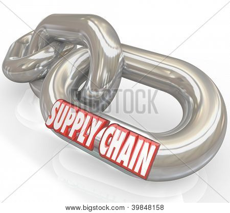 The words Supply Chain on connected links to symbolize management of manufacturer and supplier companies for a streamlined and organized process serving customers