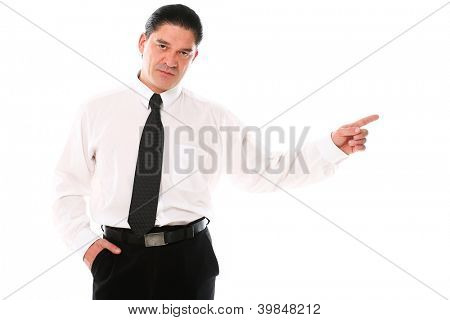 Mid aged man in a suit pointing with finger over a white background
