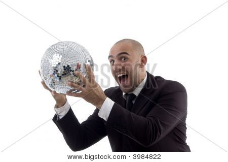 Young Accountant Holding Disco Ball