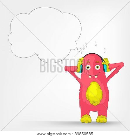Cartoon Character Funny Monster Isolated on Grey Gradient Background. Listening to Music. Vector EPS 10.