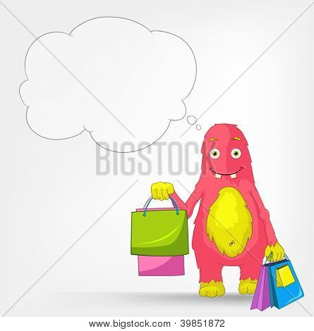 Cartoon Character Funny Monster Isolated on Grey Gradient Background. Shopping. Vector EPS 10.