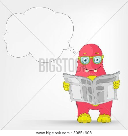 Cartoon Character Funny Monster Isolated on Grey Gradient Background. News. Vector EPS 10.