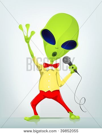 Cartoon Character Funny Alien Isolated on Grey Gradient Background. Singing. Vector EPS 10.