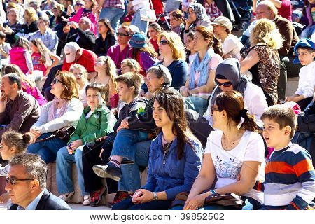People at tribune