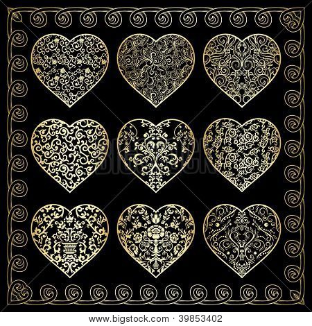 Set of nine golden ornate hearts