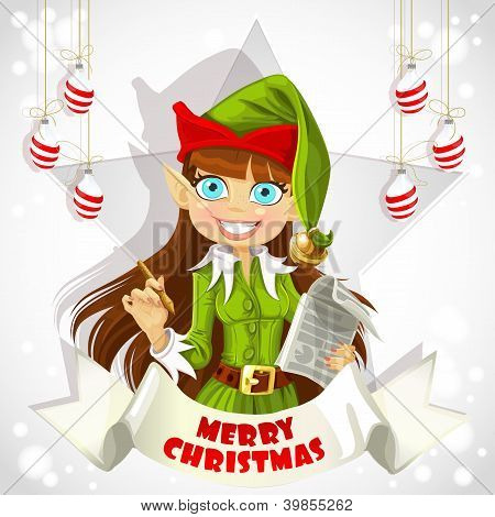 Cute Elf Christmas poster