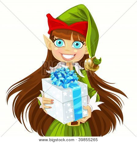 Elf give christmas gift