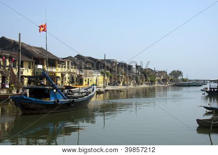 Fishing boat in harbour Hoi An Vietnam